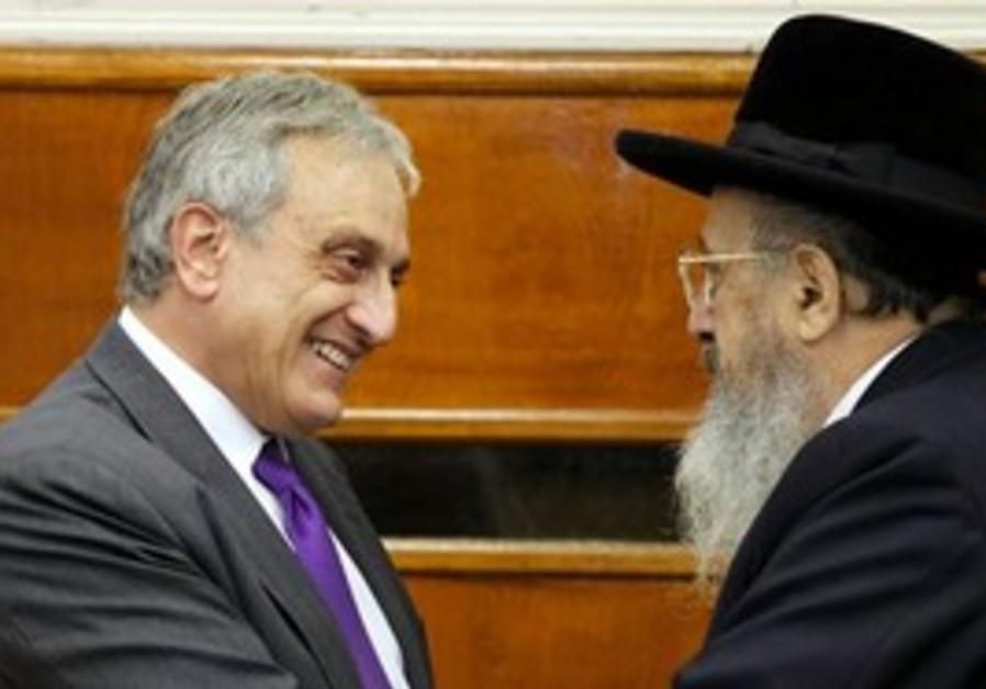 An Orthodox Jewish supporter with Carl Paladino.