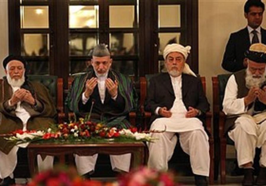 Afghan President Hamid Karzai at peace council.