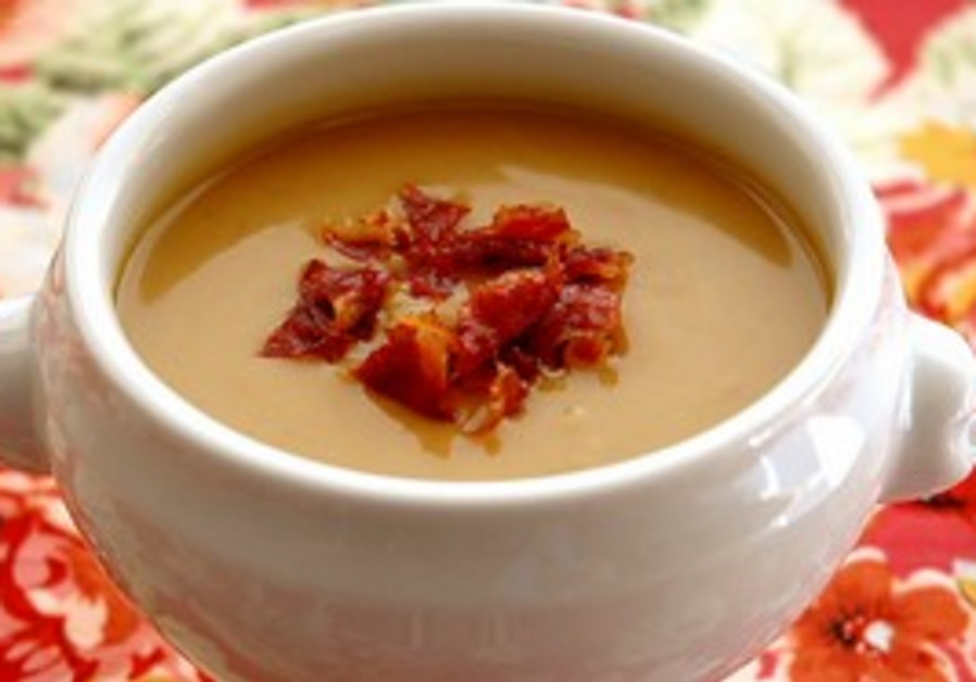 Boozy chestnut and squash soup