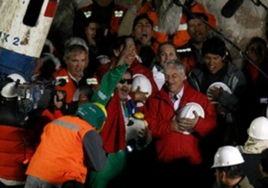 Chileans celeberate after rescue of 33 miners