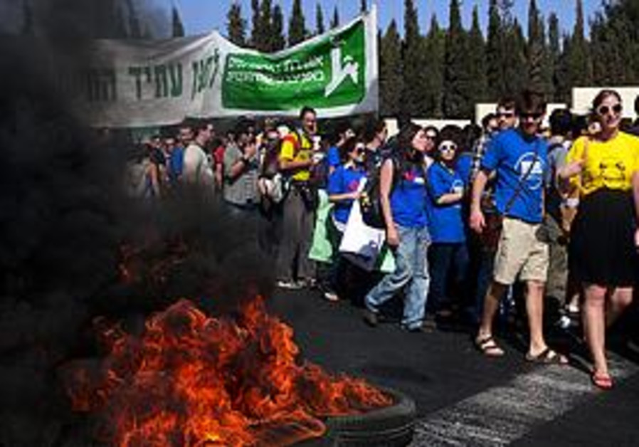 Students protest at the Hebrew University.