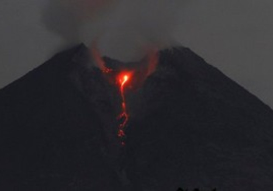 Lava flows from the crater of Mount Merapi as seen