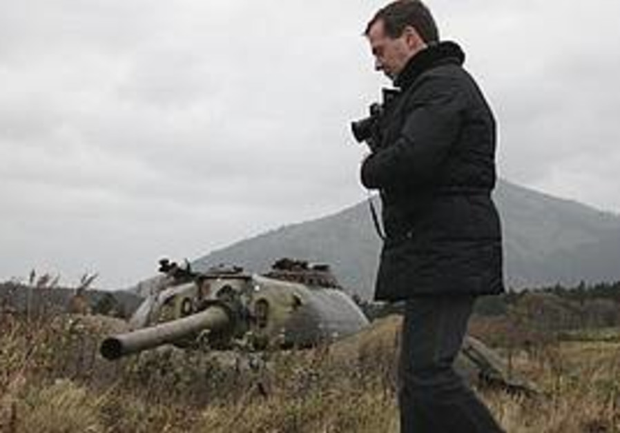 Medvedev visits one of the Russian-held islands