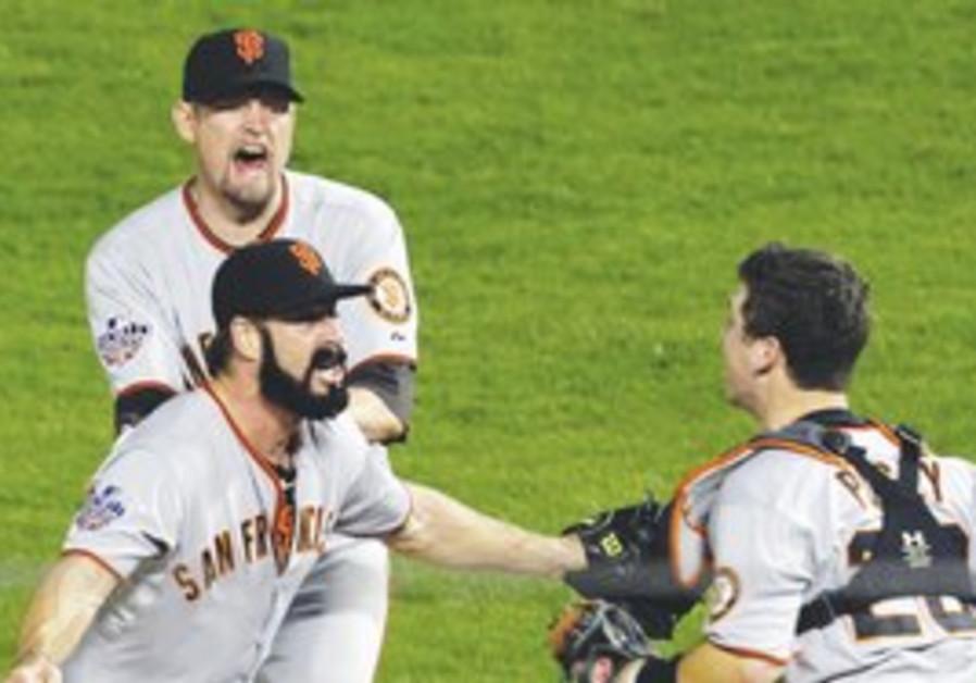 The San Francisco Giants Brian Wilson celebrates