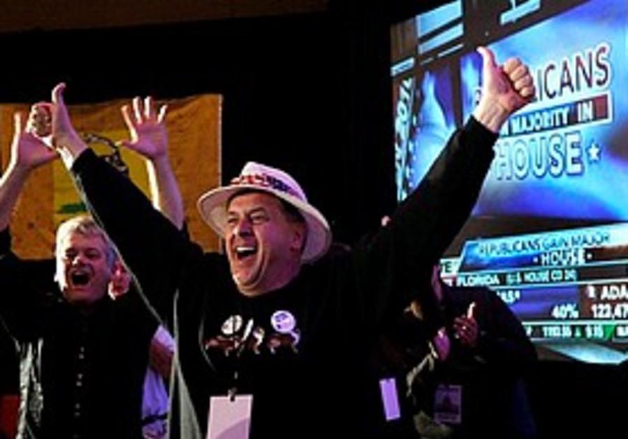 Tea Party supporters celebrate Republican wins.