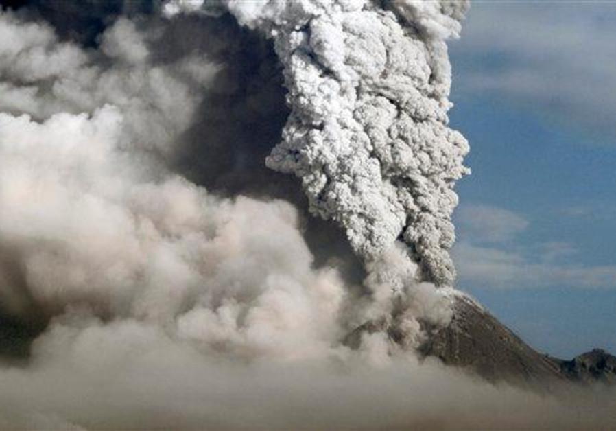 Mount Merapi spews volcanic material