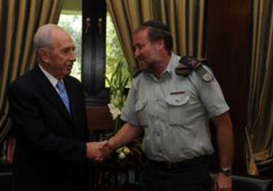 President Peres and MAG Mandelblit shake hands