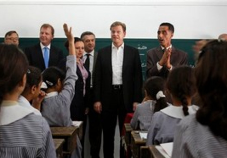 German FM Westervelle at UNRWA school in Gaza