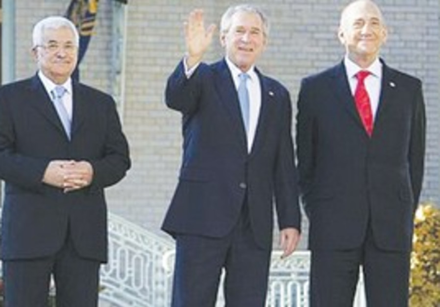 President G.W. Bush with Olmert and Abbas
