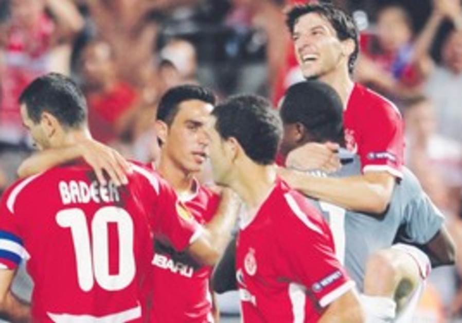 Hapoel Tel Aviv celebrating its victory