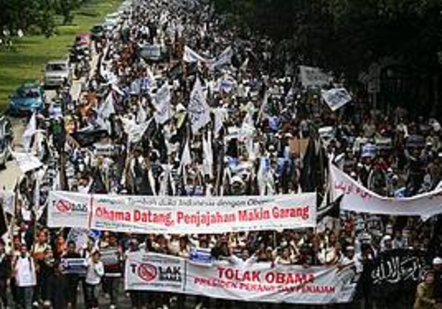 A rally protestsing Obama's arrival in Indonesia