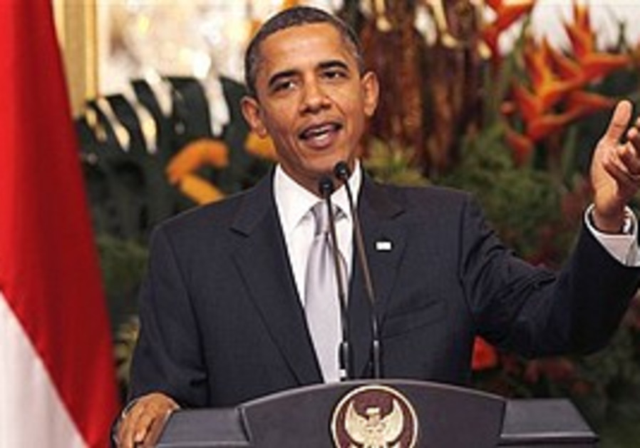 Obama speaks at a press conference in Jakarta