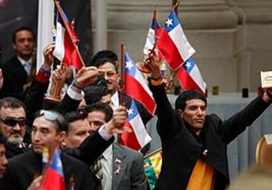 The rescued Chilean miners at a ceremony
