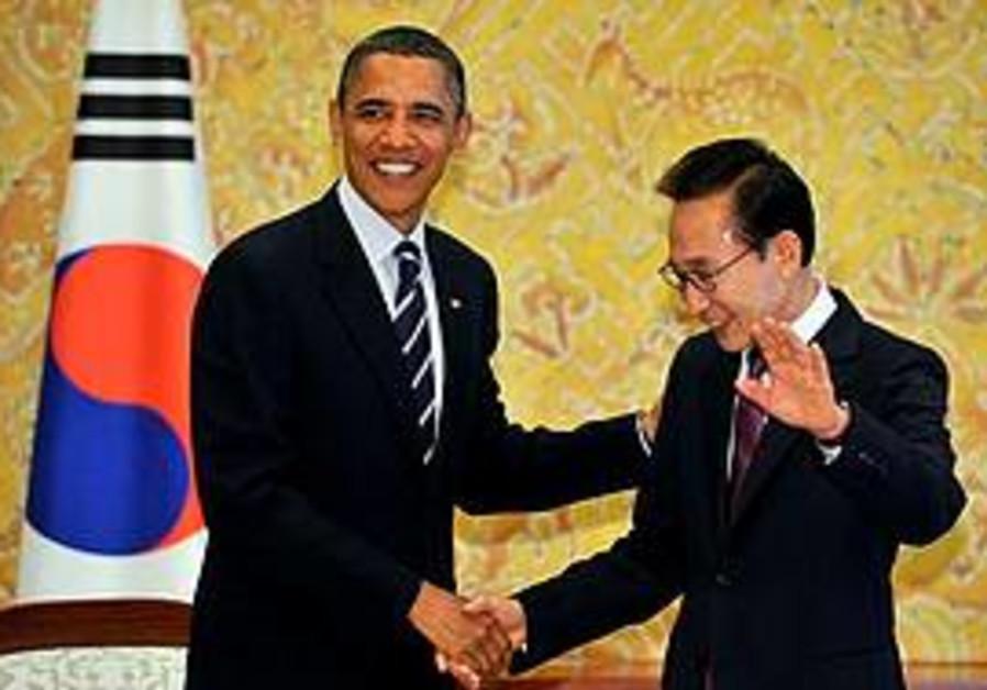 Obama with South Korea's President Lee Myung-bak
