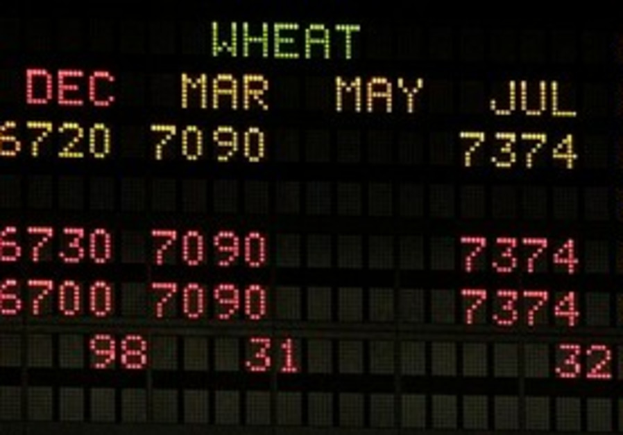 Wheat prices on electronic display.