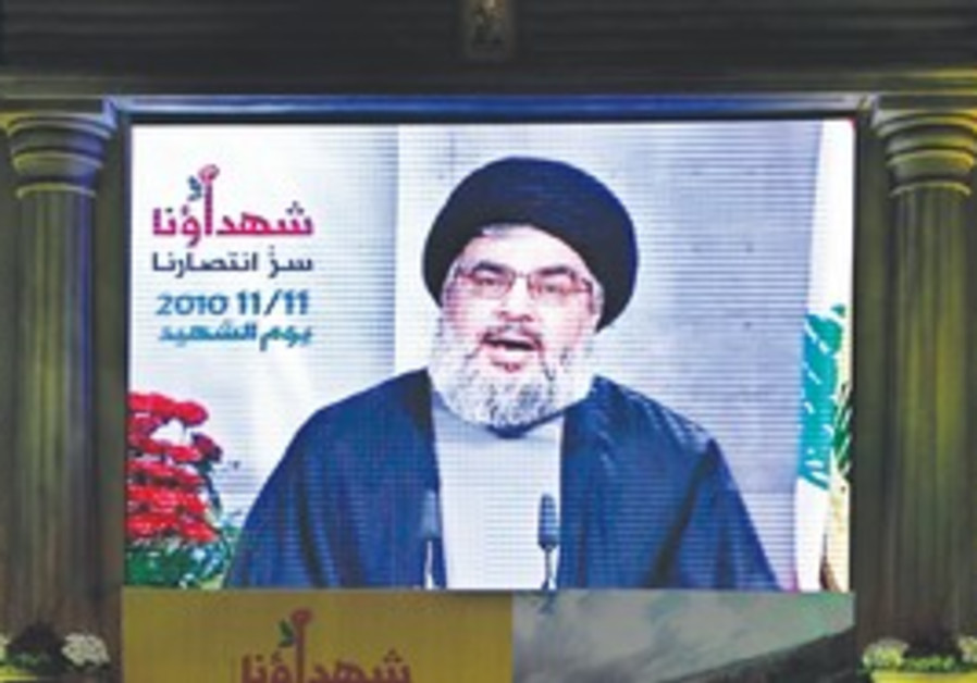 HIZBULLAH LEADER Hassan Nasrallah, seen speaking o
