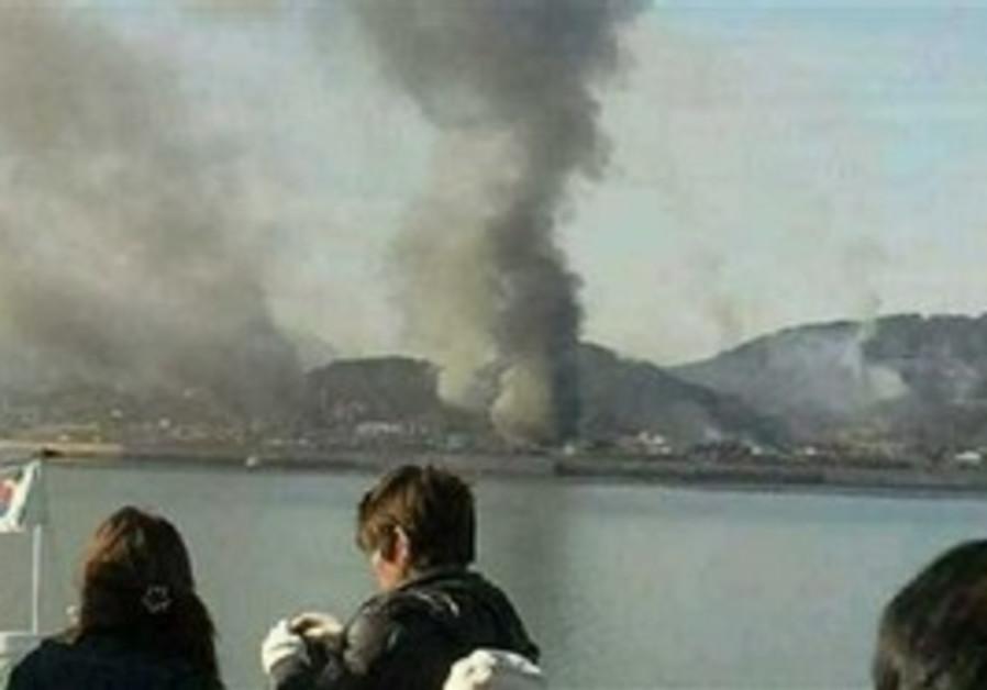 Smoke seen rising from S. Korean Yeonpyeong island