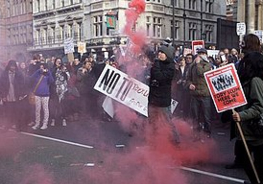 Protesters at Whitehall in London
