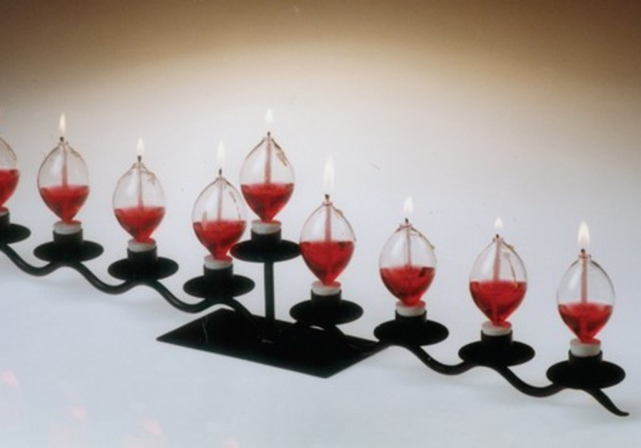 An oil lamp Hanukkia.