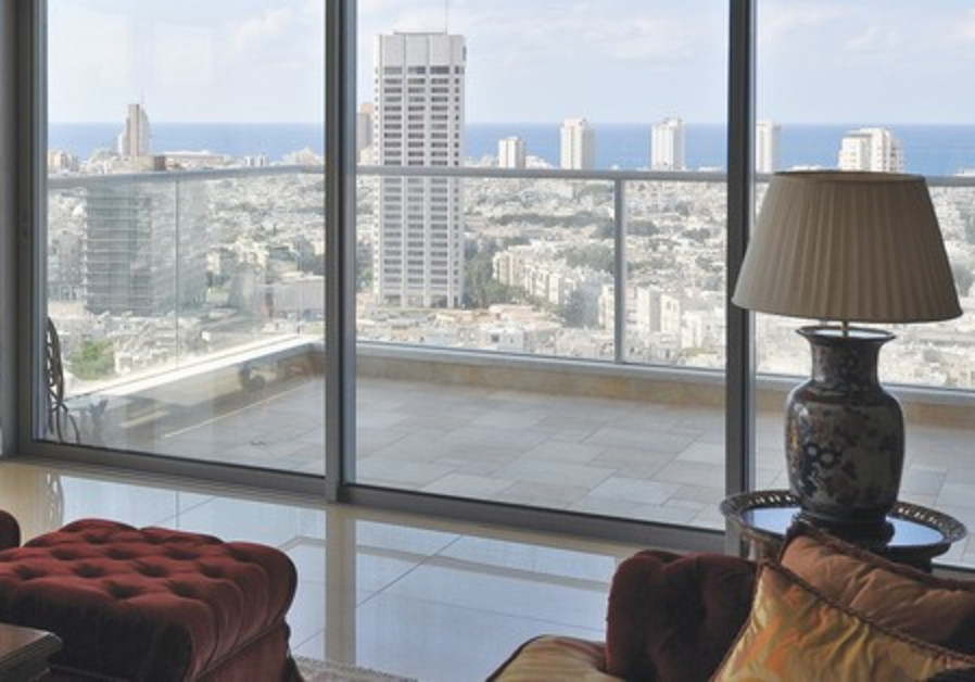Living room view of Tel Aviv and the Mediterranean