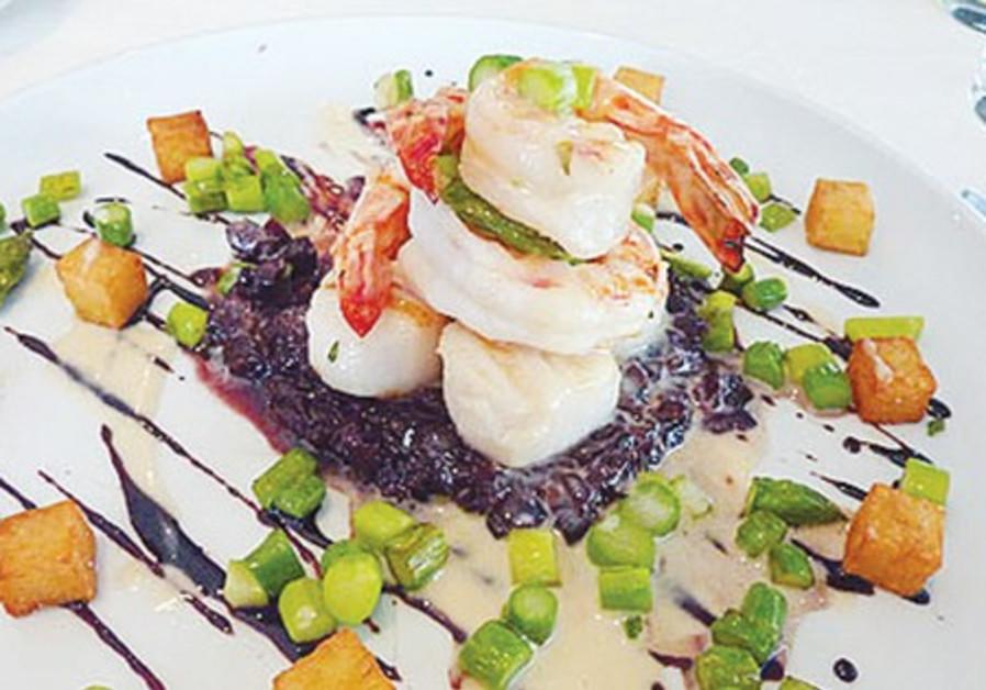 A dish from the Mul Yam restaurant, Tel Aviv Port.