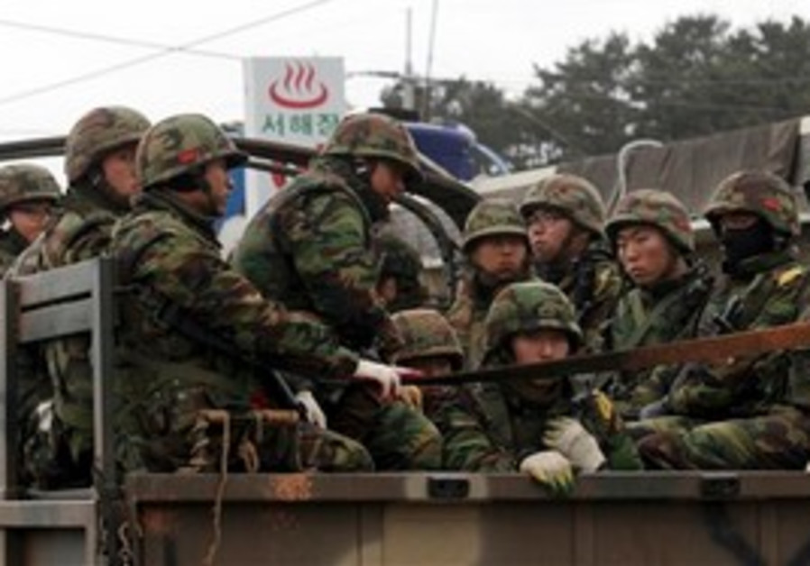 South Korean marines on Yeonpyeong Island