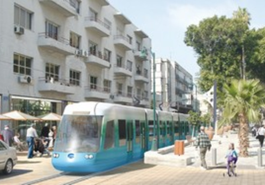 Artist rendition of Tel Aviv's future light rail.