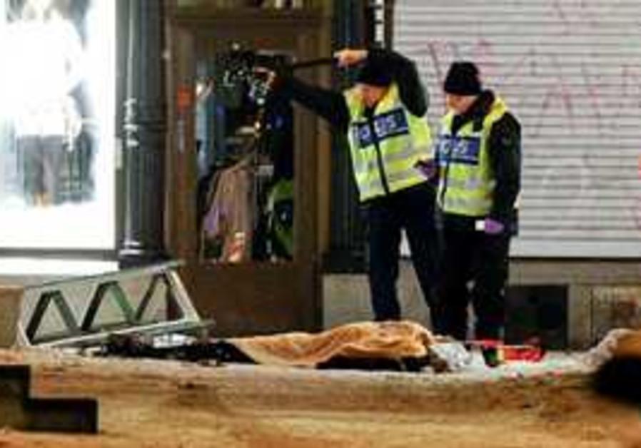 Stockholm police examine suicide bombing scene