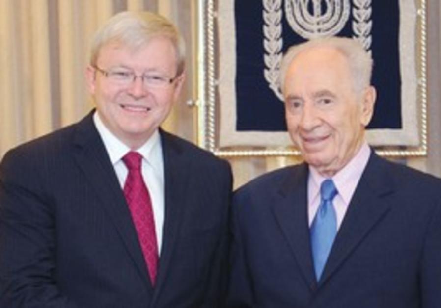 PRESIDENT SHIMON PERES (right) welcomes Australian