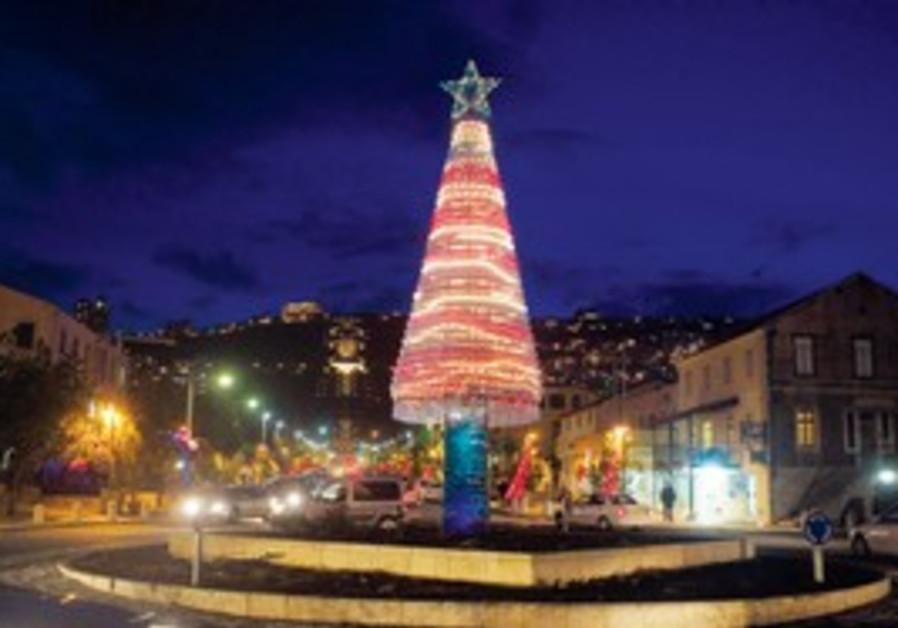 THIS CHRISTMAS TREE seen yesterday on Sderot Ben-G