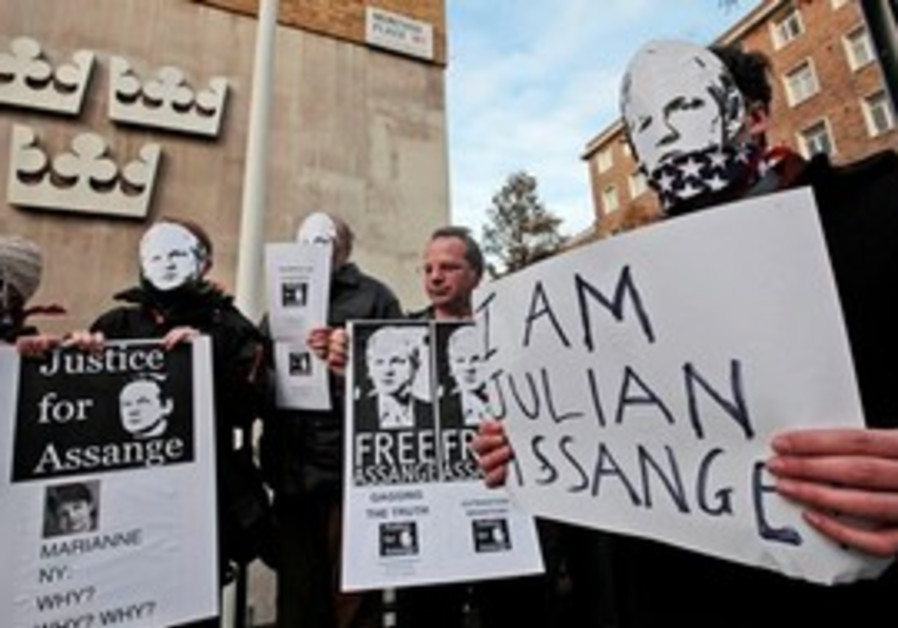 Assange supporters protest in London