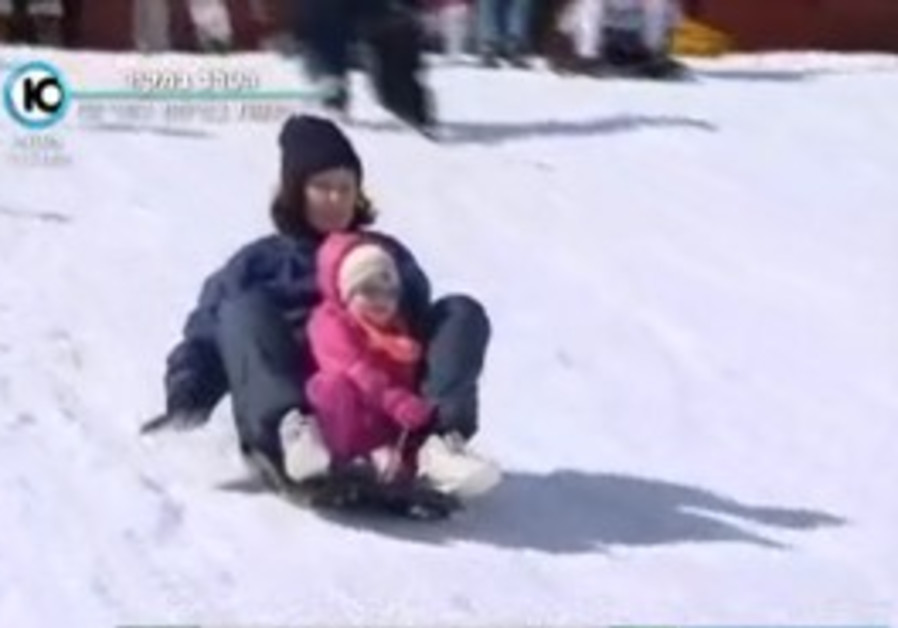 Sledders at Mt. Hermon in the Golan Heights