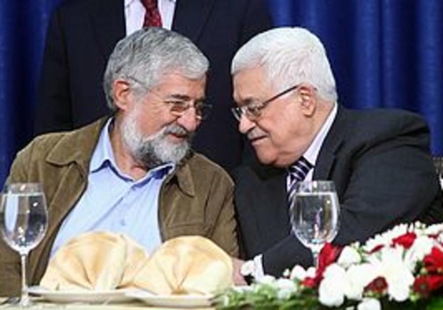 Mitzna and Abbas in Ramallah, Sunday