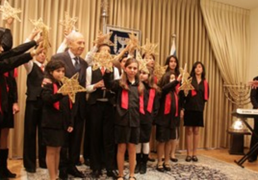 Shimon Peres with the Latin Patriarch School.