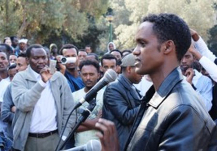 Eritrean asylum seeker Haile Mengistab at rally