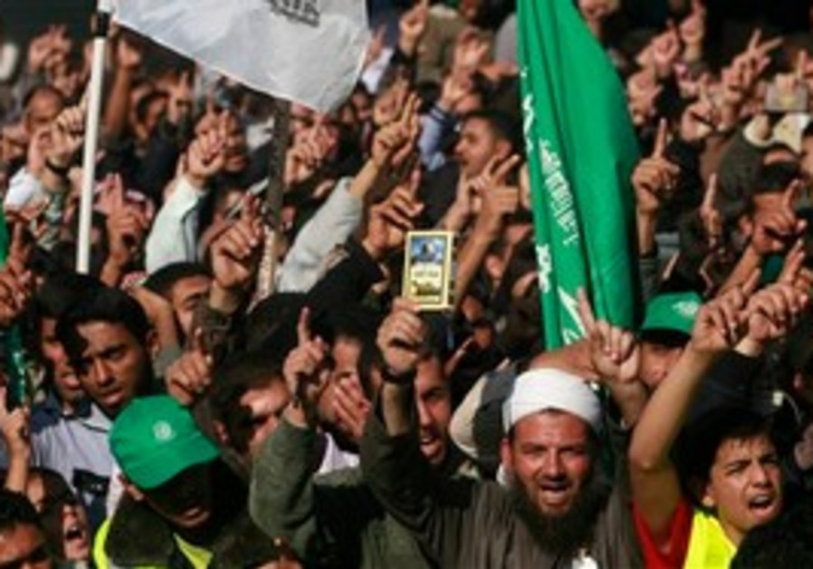 Hamas supporters at rally in Khan Yunis, Gaza