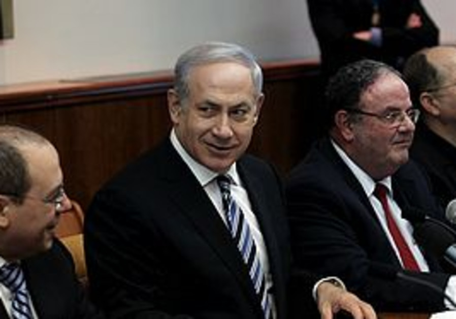 Netanyahu at a cabinet meeting