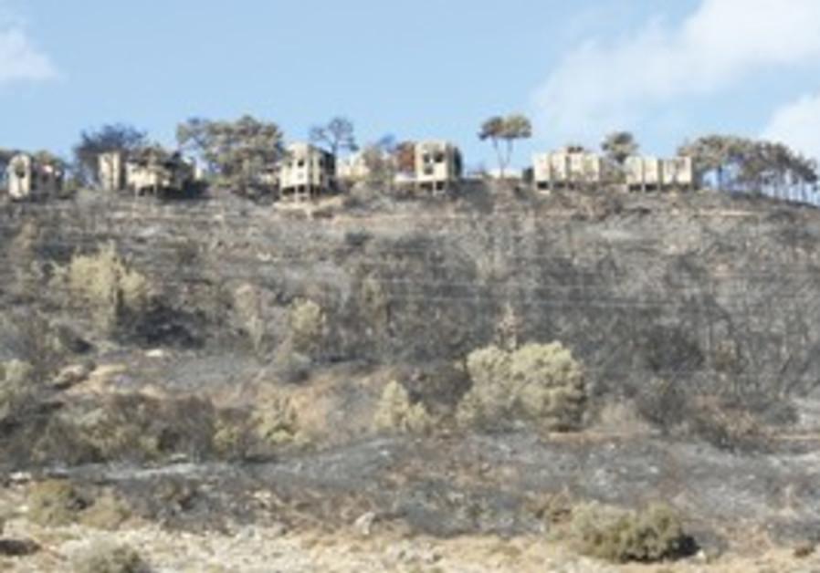 Kibbutz Beit Oren was damaged during the fire.