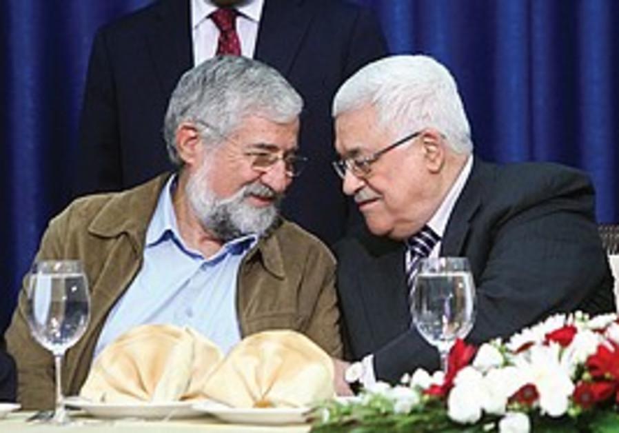 Amram Mitzna with PA President Mahmoud Abbas.