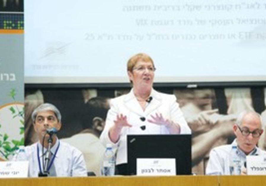 TASE CEO Ester Levanon speaks at a conference.