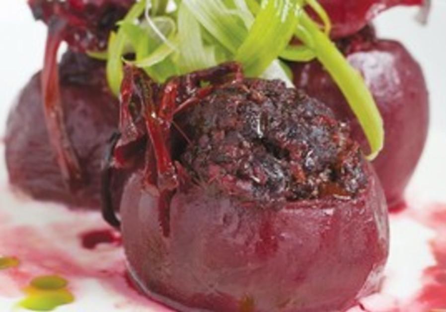 Meat stuffed beets