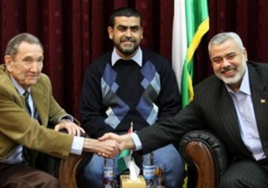 Former US Att.-Gen. Ramsey Clark with Haniyeh