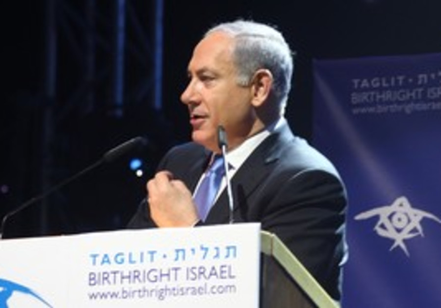 Netanyahu makes a speech at Birthright Megaevent
