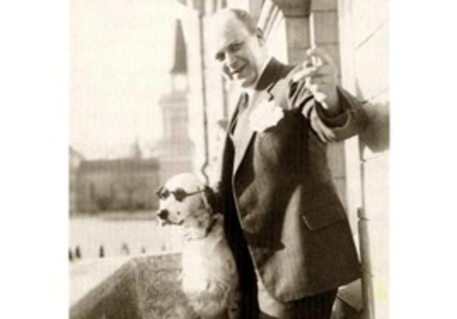 "Tor Borg and his dog Jackie ""Hitler"""
