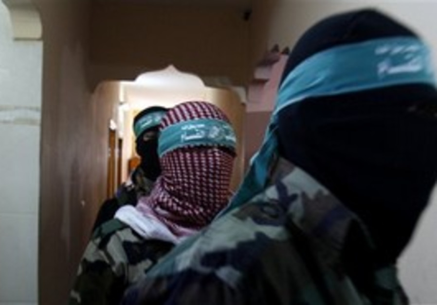 Hamas officials before a press conference in Gaza
