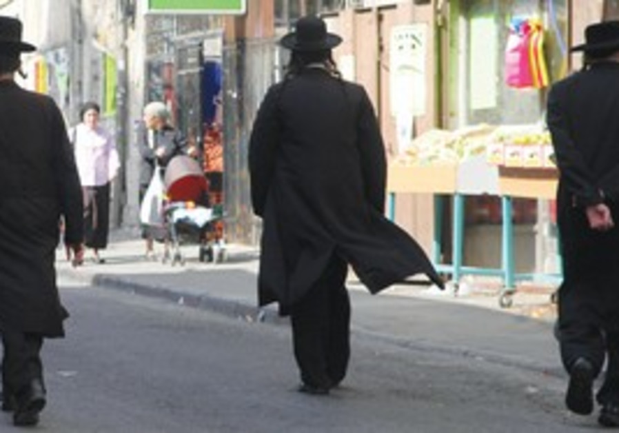 Haredim walk on street