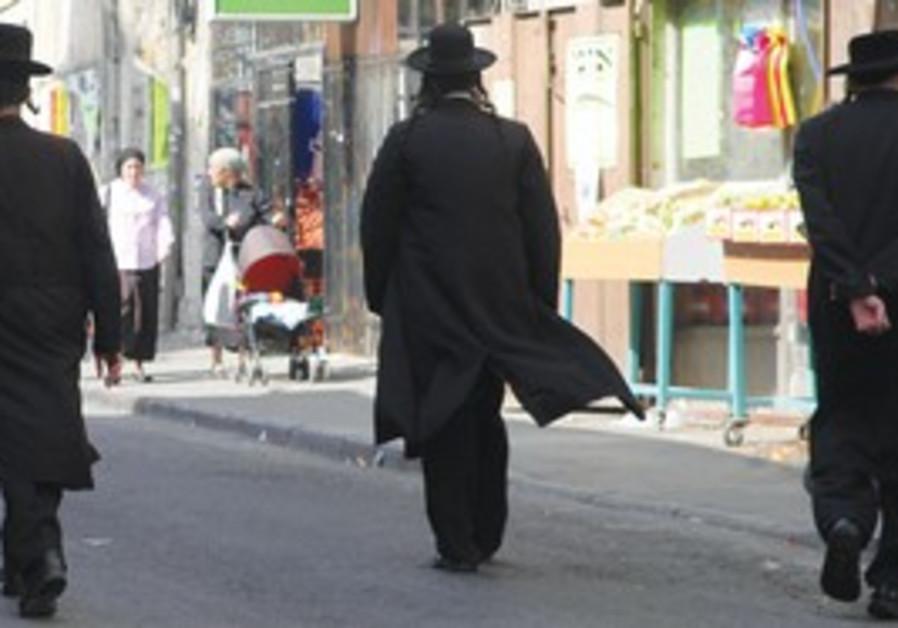 Haredim walk on street