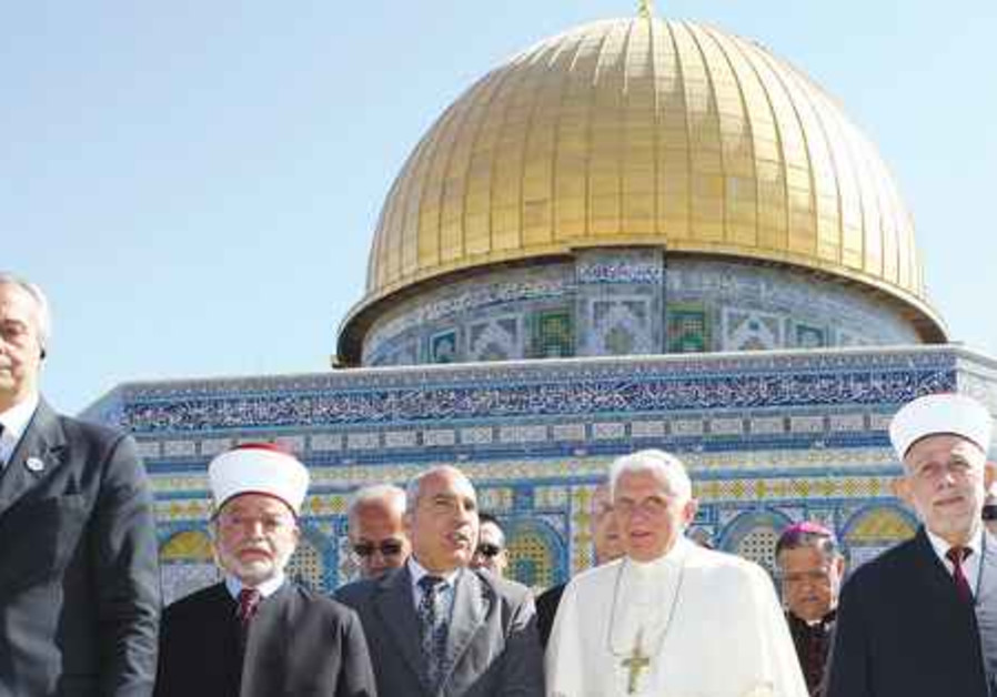 Pope Benedict XVI on the Temple Mount.