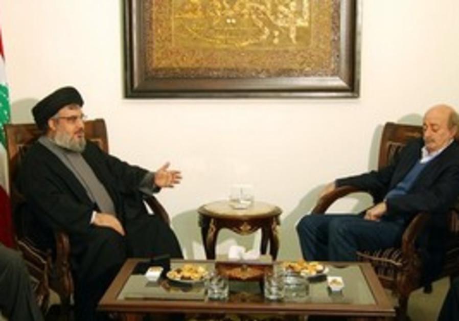 Hizbullah's Hassan Nasrallah with Walid Jumblatt