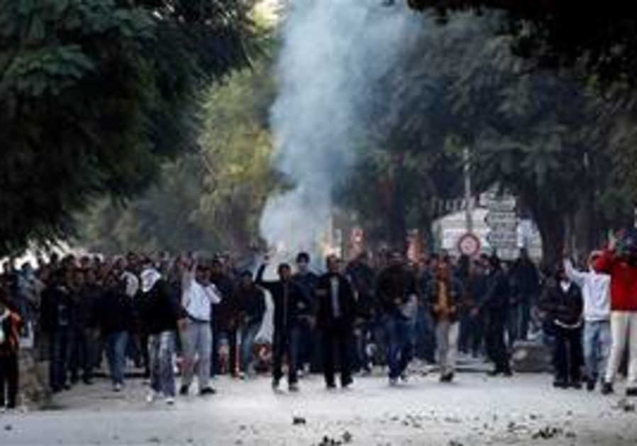 Rioters in Tunis, Tunisia